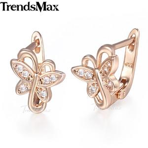 Trendsmax Lovely Butterfly Women's Earrings 585 Rose Gold Filled KGE125