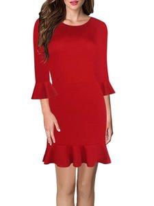 패션 솔리드 컬러 드레스 3 분기 슬리브 무릎 길이 Fishtail 여성 캐주얼 복장 트럼펫 슬리브와 함께