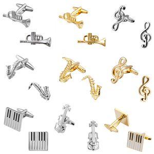 Serie música de Músicos de Sax Piano Violín mancuernas de la joyería de los hombres puño de la camisa de las mancuernas 5pairs regalo de Navidad