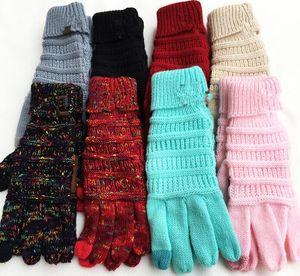 محبوك قفازات النساء الرجال الملونة شاشة تعمل باللمس قفازات الشتاء محبوك قفازات دافئة كاملة اصبع قفازات KKA6187