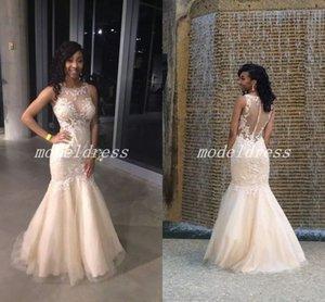 Africa Champagne Mermaid Prom Dresses 2018 Sheer Neck Illusion Bodice Apliques Cuentas Vestidos largos formales Vestidos de fiesta por la noche árabe