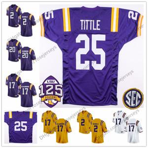 LSU TIGERS # 25 Ya Tittle 17 Morris Claiborne 7 DJ Chark 28 Darrel Williams 34 Stevan Ridley Blanc Violet Jaune 125ème Jersey à la retraite
