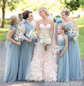 One Shoulder Dusty Blue Bridesmaid Dresses 플로어 길이 보헤미안 비치 가든 웨딩 게스트 가운 명예의 복장 플러스 사이즈 2019