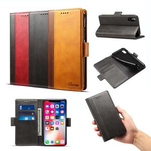 Nuevo para el iPhone Para Sumsung PU de cuero Kickstand Card Pocket Wallet Phone Case con paquete al por menor Envío gratuito