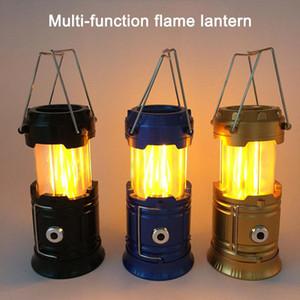Stretchable Solar Chama luzes Lâmpadas Multifuncional LED Camping Luz Lanterna de Emergência Tenda de Luz Portátil Lâmpada Mão