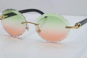 Kesme Mercek Vintage Güneş Unisex Oyma Toptan Yeni Buffalo Hor Güneş Sıcak Gözlük 8200761 Oval Lens Siyah Buffalo Horn Çerçevesiz