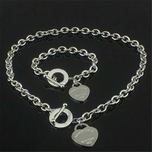Рождественский подарок 925 Серебряное любовное ожерелье+браслет комплект свадебное заявление ювелирные изделия сердце кулон ожерелья браслеты наборы 2 в 1