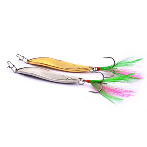 Spoon Fishing Baits 11g 15g Silver Gold Atificial Metal VIB Blades Fishing lure Spinner bait With Feather Hooks Free Shipping