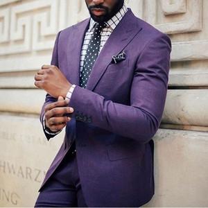 Yüksek Kaliteli kostüm homme 2018 Mor Erkekler Suits Damat Smokin Groomsmen Düğün Yemeği En Iyi Adam Suit (Ceket + Pantolon)