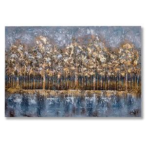 Modernes Ölgemälde auf Leinwand Golden Sunset Trees in der Natur handgemalte Wand Art Abstract Style für Wohnzimmer