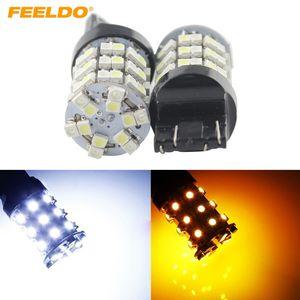 7443 T20 1210 60SMD 듀얼 컬러 화이트 / 앰버 지그재그 자동차 Turnning 신호 백업 LED 조명 # 1480 FEELDO 10PCS