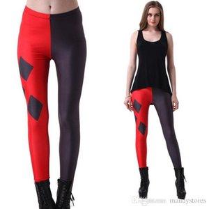 New Sexy Heart Print Leggings Women Red Black Patchwork Sporting Pants Fashion Printed Women's Fitness Leggings High Waist Pants