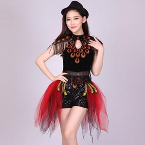 lentejuelas de las mujeres bailan la ropa, vestido de danza contemporánea, señora Nightclub Tuxedo, vestido de la danza del jazz, desgaste del funcionamiento del traje del funcionamiento moderno chino