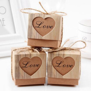 50Pcs / Set Square Heart Candy Boxes Regalo di cioccolato Kraft Gift Bag con burlap Twine Birthday Wedding Party Events Decoration