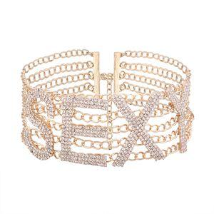 Exagerado colar de strass gargantilha personalizado Inglês letras colarinho SEXY senhoras da moda jóias