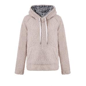 Женщины Шерпа толстовки флис пуловер свитер кашемир кофты зима теплая верхняя одежда с капюшоном пуловер пальто уличная плюс размер новый