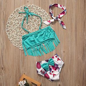 Baby Floral Swimwear Sets ragazze fascia + top nappa + pantaloncini 3 pz / set 2018 Hot Summer Bikini Bambini Costume Da Bagno Spedizione Gratuita Z11