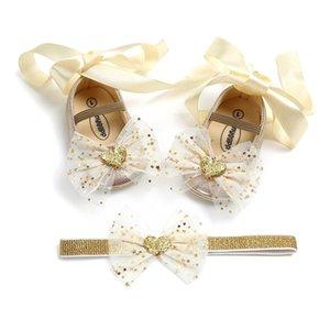 Bowknot Мэри Джейн Обувь с Hairband Подарочный Набор Новорожденных Девочек Крещение Обувь с Riband Мода Юбилейная Вечеринка Обувь Принцесс