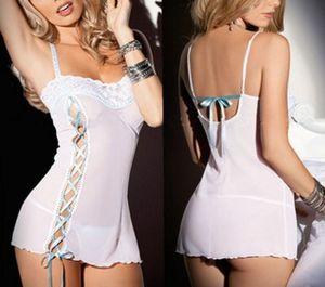 Alta calidad precio bajo al por mayor Encaje perspectiva siameses 3pcs / lots sexy camisón pijamas perspectiva hfh