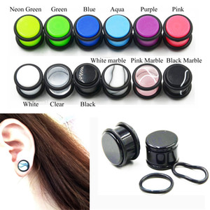 1 Par UV Acrílico Ear Calibrador Tunnel Plug Kit Expander Flesh Tunnel PiercingJewelry 1.6mm-10mm