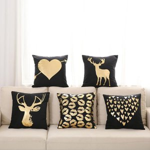 Preto e ouro home decor cervos capa de almofada amor manter a calma chaise longue jogar travesseiro caso manter a calma cojines macio e suave