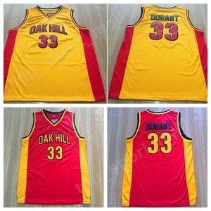 저렴한 33 케빈 듀란트 오크 힐 저지 남성 노란색 빨간색 고등학교 대학 듀란트 농구 유니폼 스포츠 품질