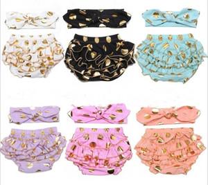 Meninas calções de bolinhas de ouro bebê bloomers + headbands set crianças babados calções crianças cueca menina calças curtas Y260