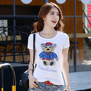 Wholesale-2017 Summer Ladies Fashion Cotton O Neck Short T-shirt Slim Cotton Shirt for woman with 3D handmade LOGO Bear 7992