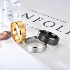 Stile Europeo Minimalismo Dumb Light Ring 8 MM Acciaio inossidabile Doppio bordo obliquo Bomboniera Arch Titanium Anelli 1 3zl Ww