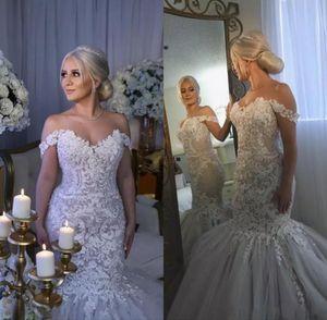 País fora do ombro sereia vestidos de noiva 2021 Wear New Lace apliques de cristal vestidos de noiva de tule casamento de praia do vintage