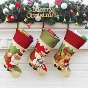 Meias de natal Feitas À Mão Artesanato Crianças Presente Dos Doces Saco de Papai Noel Papai Noel Boneco de Neve Meias Meias de Natal Xmas Decoração Da Árvore de brinquedo de presente # 45 46 47