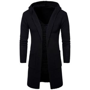 AOWOFS 2017 Nova moda mens cardigan blusas Casual longo casaco Outono com capuz de Malha Blusas Europa e América Sweatercoats
