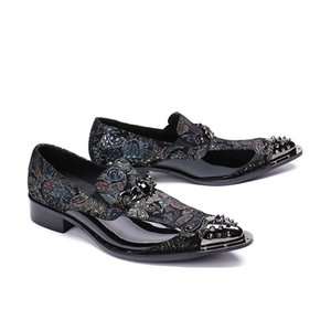 Homens de luxo designer de metal sapatos masculinos de couro impressão casuais dedo apontado deslizamento em negócios sapatos de festa de casamento das sapatas de vestido
