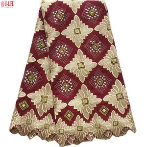 Alta calidad suizo africano Voile Lace 100% algodón bordado africano telas de encaje en Suiza para el vestido de boda BG-043