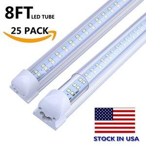 T8 LED 샵 라이트 통합 이중 행 LED 튜브 4FT 28W 8FT 72W LED 조명 램프 전구 8 피트 차고 창고 조명