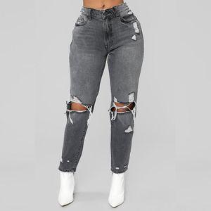 European 2018 Fashion Slim Smoke Gray Knee Big Hole Jeans Women Ladies Destroyed High Waist Jeans Femme Taille Haute Woman