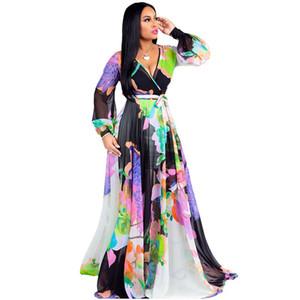 V profundo decote em v manga longa sexy longo dress mulheres flor impresso chiffon andar de comprimento vestido vintage cintura alta tamanhos grandes cinto vestido