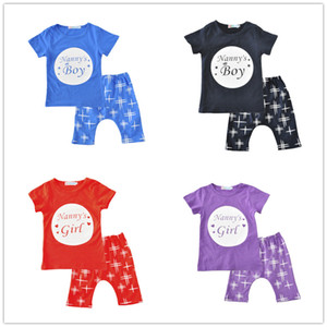 Toddlers summer outfits 2pc sets letters printed short sleeve T shirt+stars middle pants nanny's boy girl cute ins hot baby clothing 1-5T