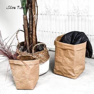 Yıkanabilir Kraft Kağıt Torba Moda Bitki Çiçekler Tencere İşlevli Ev Saklama Çantası Hediye Paketi Yüksek Kaliteli Saklama Torbaları
