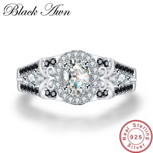 [BLACK AWN] 925 Sterling Silver Row Black Stone Engagement Rings for Women Fine Jewelry Bague C315 Y1892705