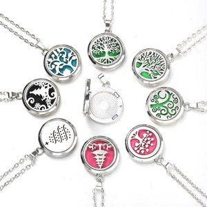 Tree of Life Aroma Box Necklace Stainless Steel  Essential Oil Diffuser Perfume Box Locket Pendant Jewelry Christmas