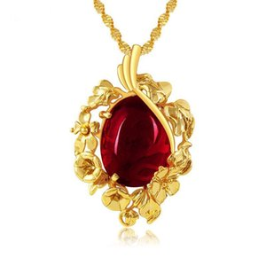 Pendants 24k   Green (204P) Gold Red Necklace For Pure Chain Jewelry Classic Women Fashion Plated 45 Cm Wave Stone Hmeru