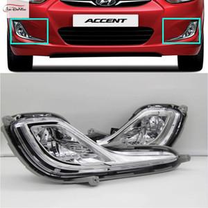 Hyundai ACCENT için araba Sis Farları / VERNA / SOLARIS 2012 Temizle Halojen ampul Ön Sis Farları Tampon Lambaları Kiti