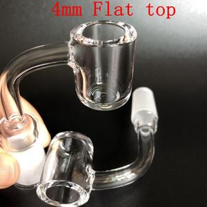 4mm de espessura Plana top Quartz Banger quartzo prego de quartzo 10mm 14mm 18mm feminino masculino 45/90 Graus 100% real Quartz Banger Nails