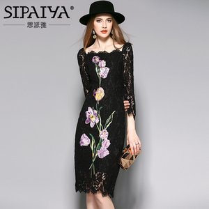 SIPAIYA New Fashion 2017 Runway Kleid Frauen Hohe Qualität Europa Marke Stil Blumen Stickerei Appliques Pencil Dress