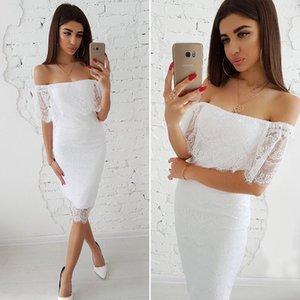 MOARCHO женщины твердые Слэш шеи кружева сексуальное платье с плеча свадебное платье весна лето Линия до колен шикарный