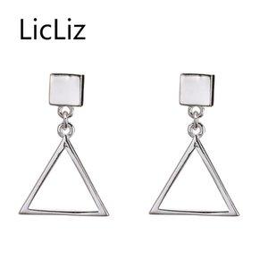 Licliz moda triángulo 925 pendientes de gota de plata esterlina para mujeres joyería del partido Brincos Pendientes Joyas De Plata 925 LE0410