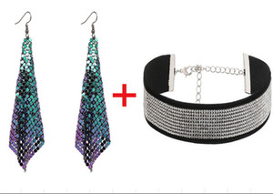 Новый стиль мода женщины блестящие кисточкой серьги сетки длинные капли мотаться серьги + девушки воротник колье короткое ожерелье