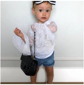 Baby Girl Transparent Tulle Solid Color T-shirt Baby Summer Boat Neck Long Sleeve Tops Kids Children Clothes Clothing ZHT 039