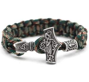 All'ingrosso - Youe Shone Norse Viking Thor Mjolnir Hammer Paracord Amuletceltic Rune Knot Amulet Scandinavian Bracelet Vantage Green and White